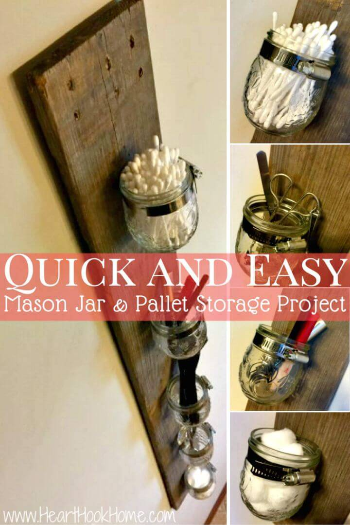 Easy DIY Mason Jar and Pallet Board Storage Rack