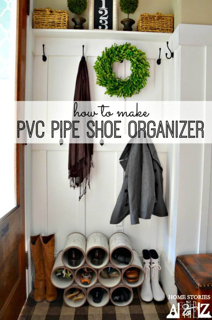 Easy DIY PVC Pipe Entryway Shoe Organizer Tutorial