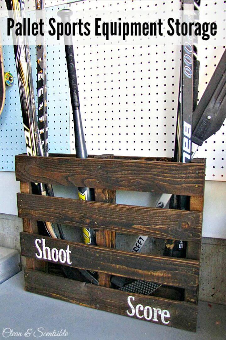 Easy DIY Pallet Sports Equipment Storage Tutorial