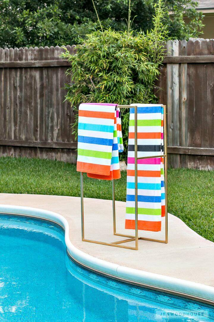 Easy DIY Poolside Towel Rack Tutorial