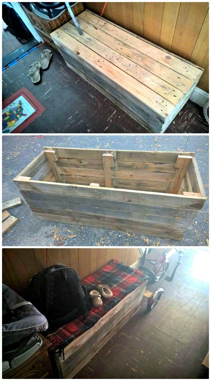 Easy DIY Recycled Pallet Storage Bench Tutorial