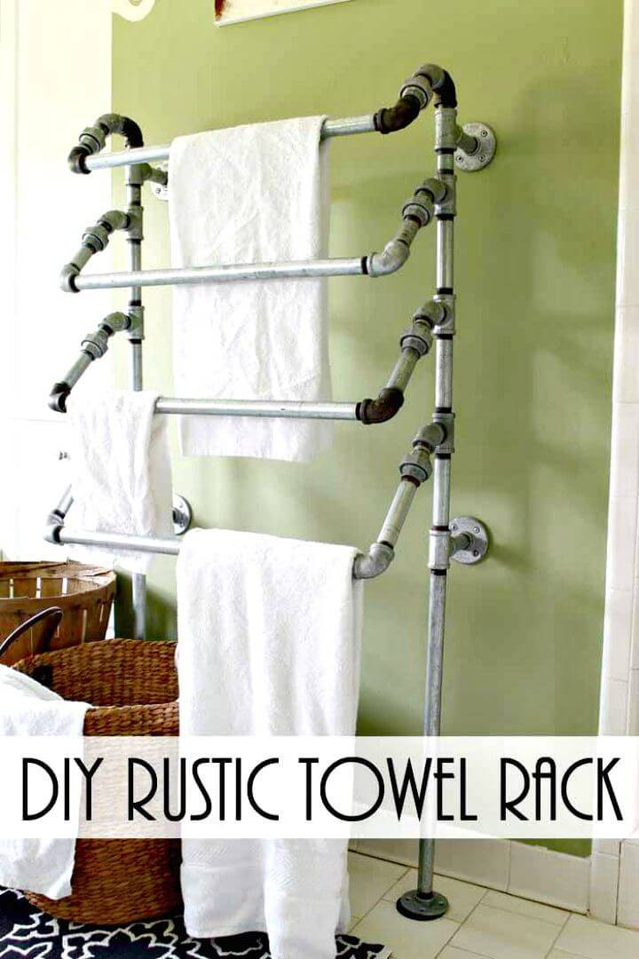 Easy DIY Rustic Towel Rack from Pipes Tutorial