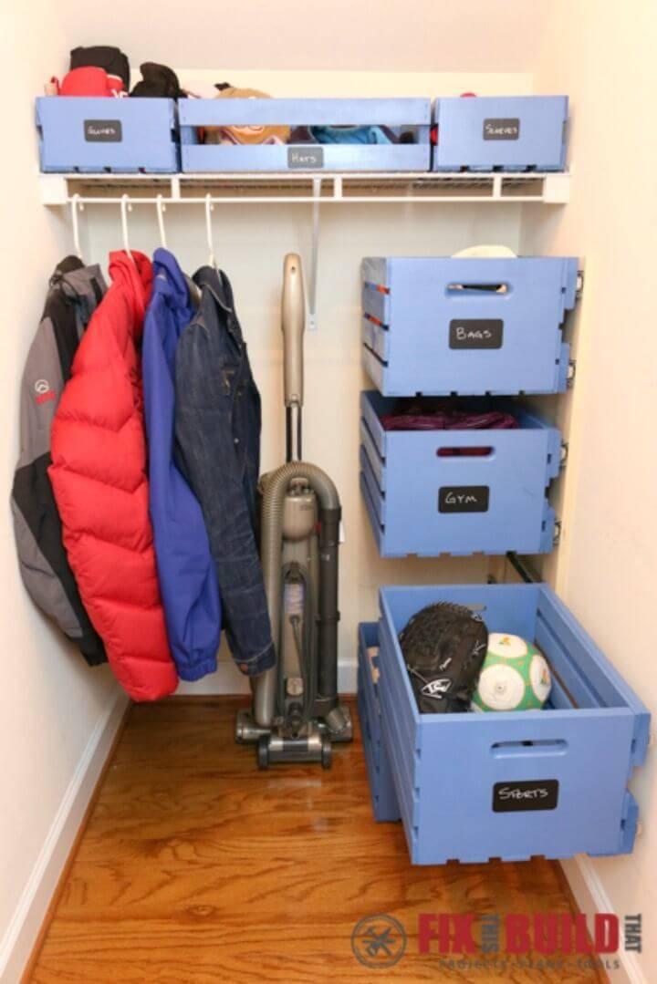 Easy DIY Sliding Wood Pallet Crate Storage