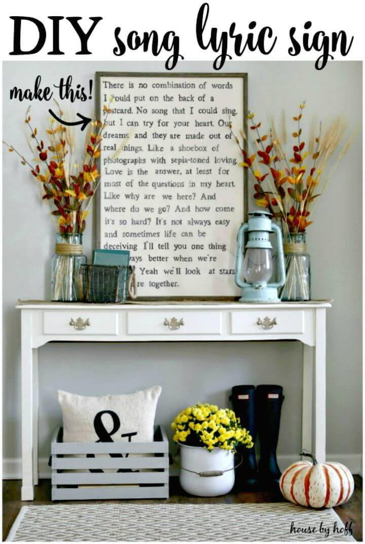 Easy DIY Song Lyric Sign Entryway Tutorial