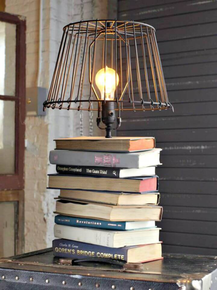DIY Stacked Books Table Lamp Tutorial