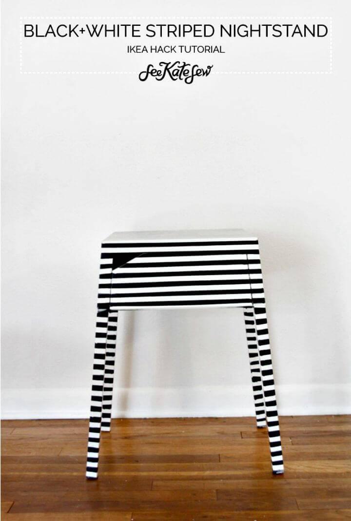 DIY Striped Nightstand Ikea Hack Tutorial