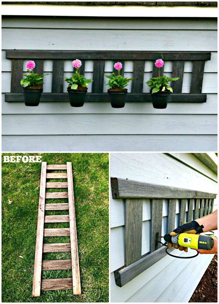 Easy DIY Up-cycled Ladder Planter Tutorial