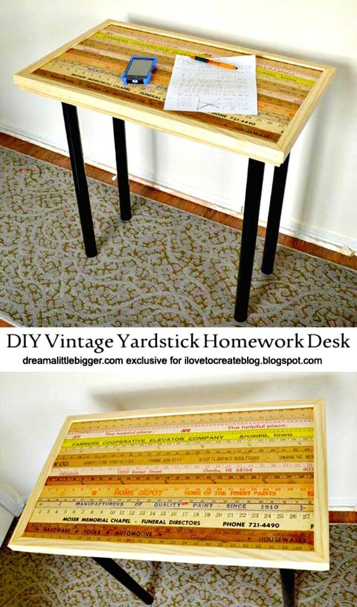 Easy DIY Vintage Yardstick Homework Desk Tutorial