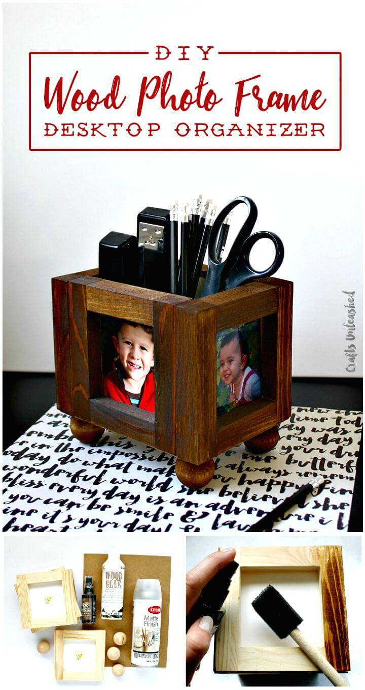 Easy DIY Wood Photo Frame Desk Organizer Tutorial