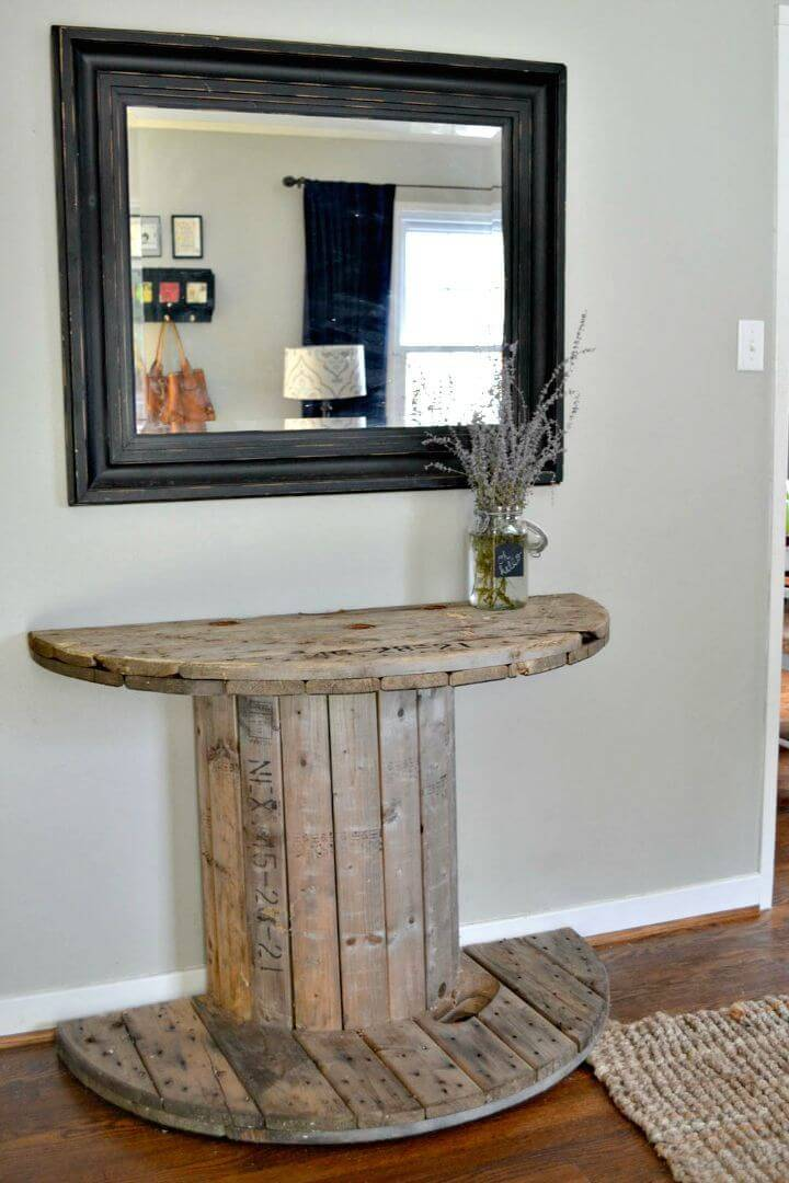 Easy DIY Wooden Spool Console Entryway Table Tutorial