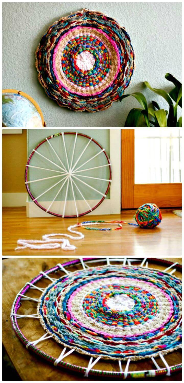 Free Woven Finger-Knitting Hula-Hoop Rug Pattern