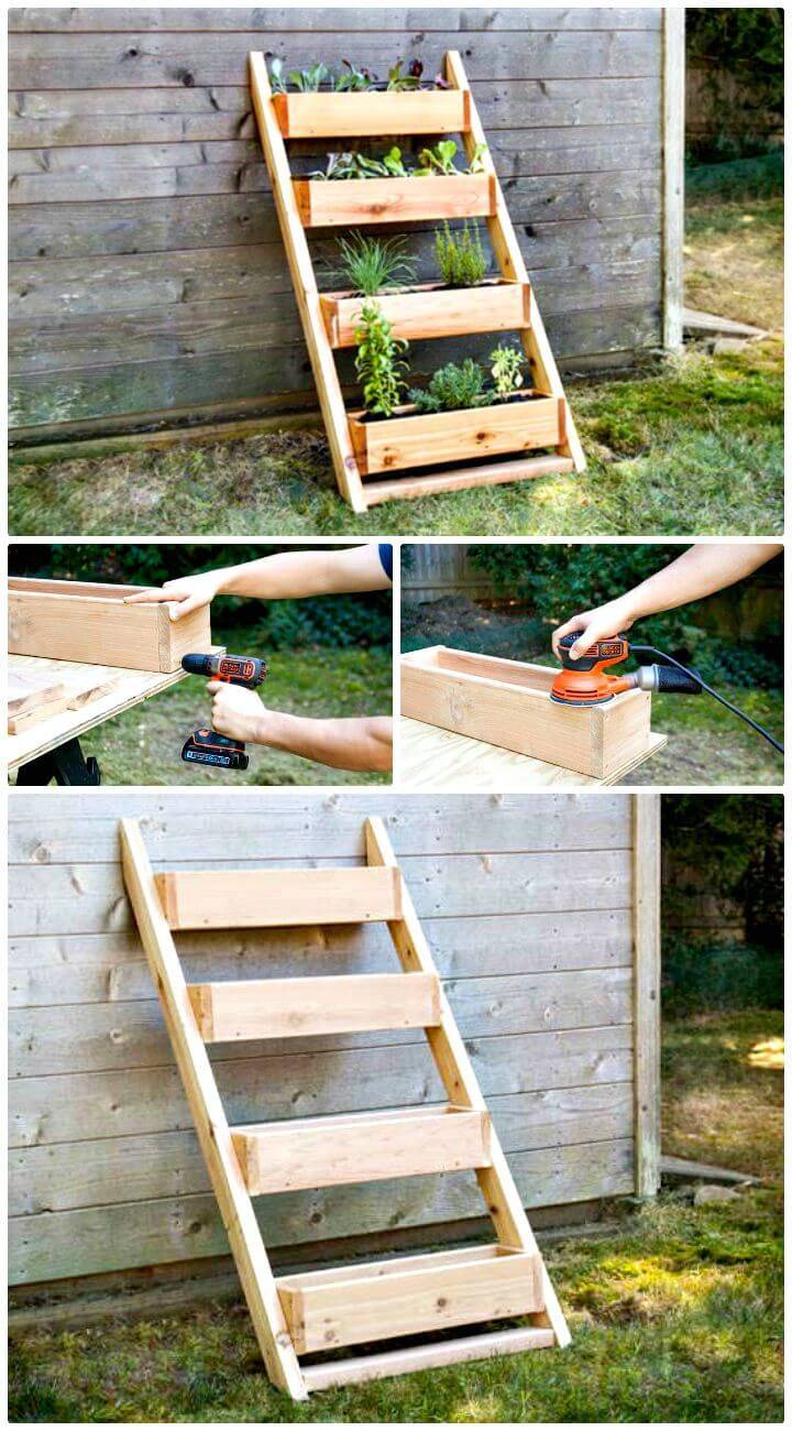Easy DIY Cedar Ladder Planter
