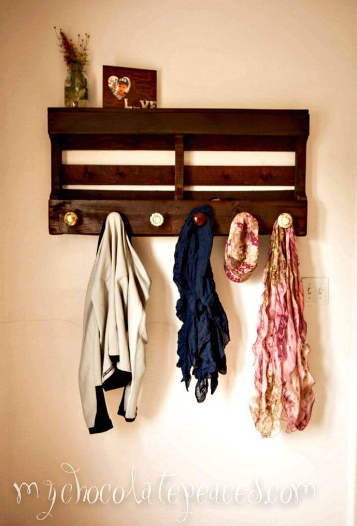Easy How to DIY Chocolate Brown Pallet Coat Hanger Tutorial