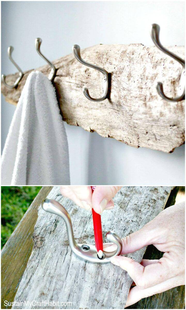 Easy DIY Driftwood Towel Rack Tutorial