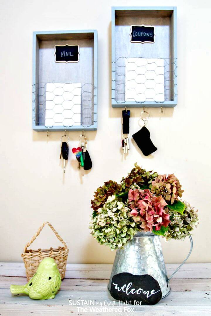 Easy DIY Farmhouse Entryway Organizer Tutorial