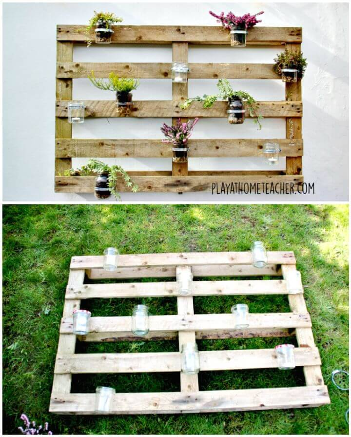 Easy DIY Jam Jar Pallet Planter Tutorial