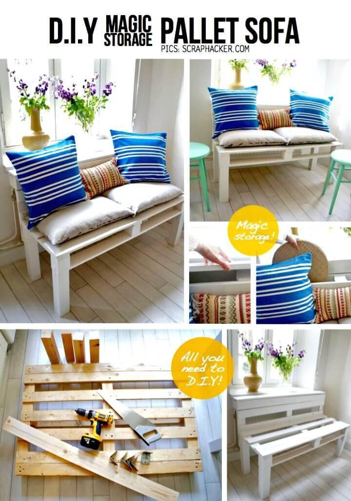 Easy DIY Magic Pallet Sofa Storage Tutorial