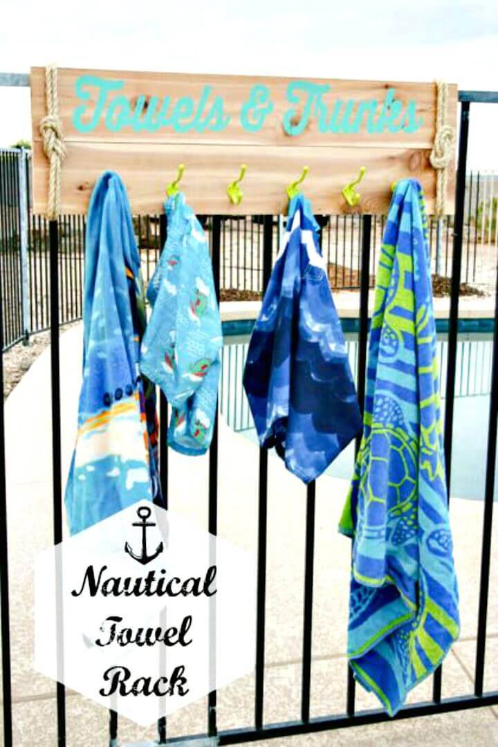 Easy How To DIY Nautical Towel Rack Tutorial