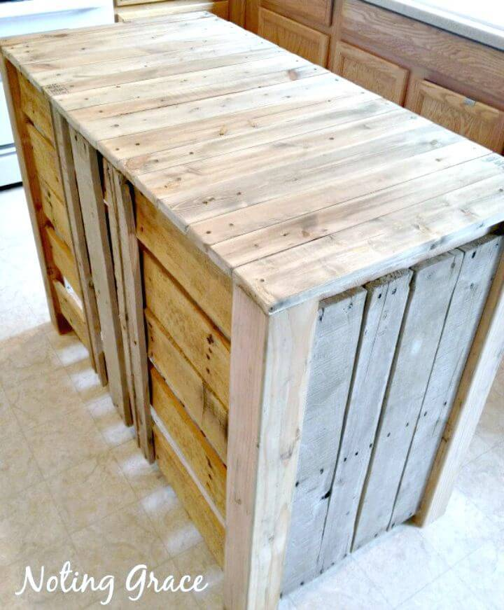 Easy DIY Pallet Kitchen Island For Less Than $50