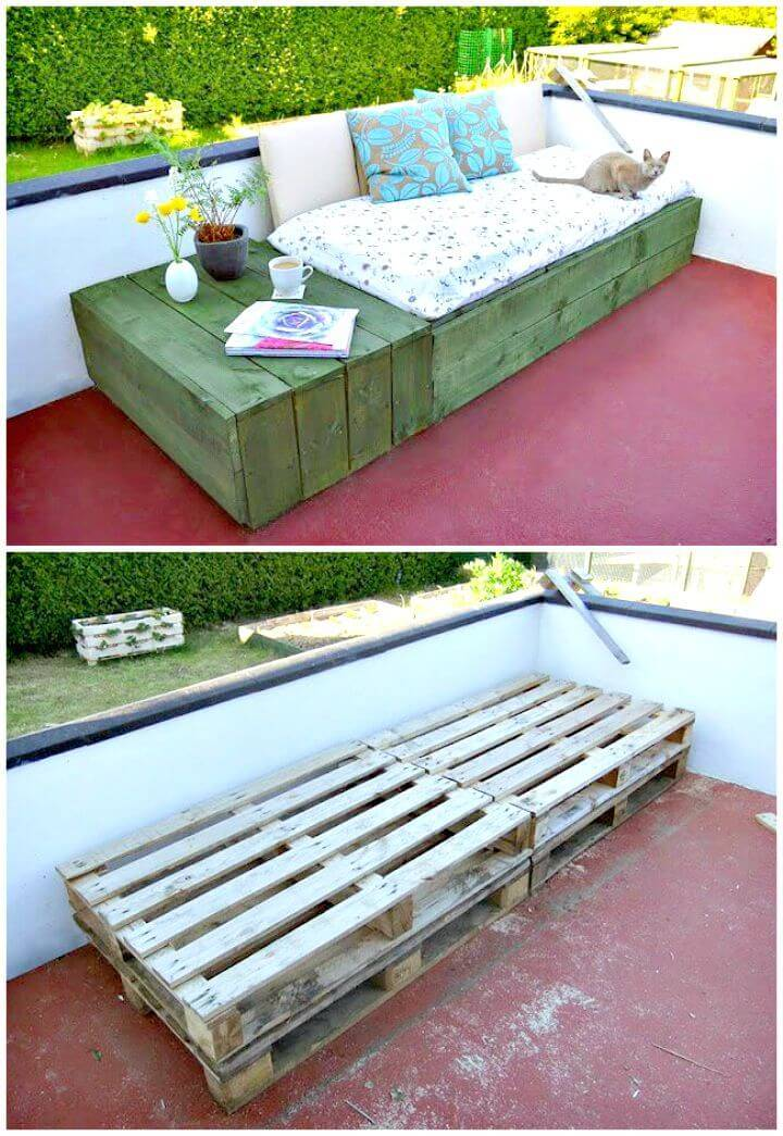 Easy DIY Pallet Patio Day Bed Step By Step Tutorial