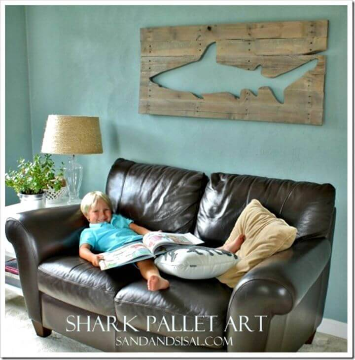 Easy DIY Pallet Shark Art Step By Step Tutorial