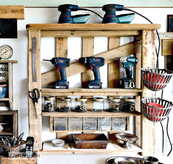 Easy DIY Pallet Shelf To Organize Your Tools On An Enhanced Shelf Tutorial