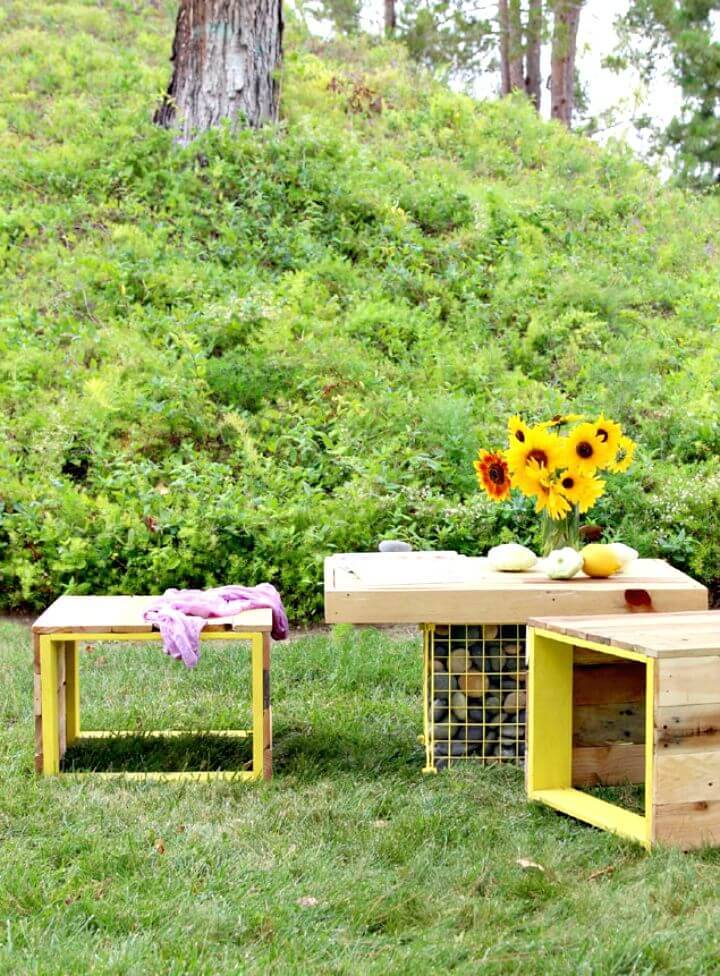 Easy DIY Pallet Wood Bench And Gabion Table Tutorial