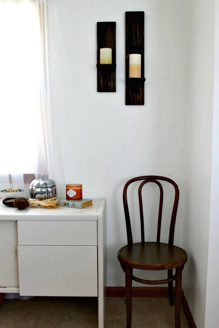 Easy How to DIY Pallet Wood Candle Sconces Tutorial
