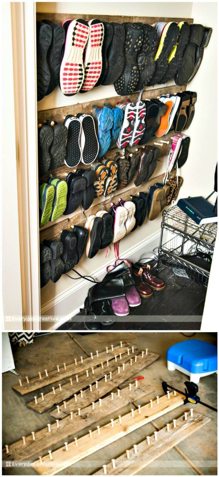 Easy How to DIY Pallet Wood Shoe Storage Tutorial