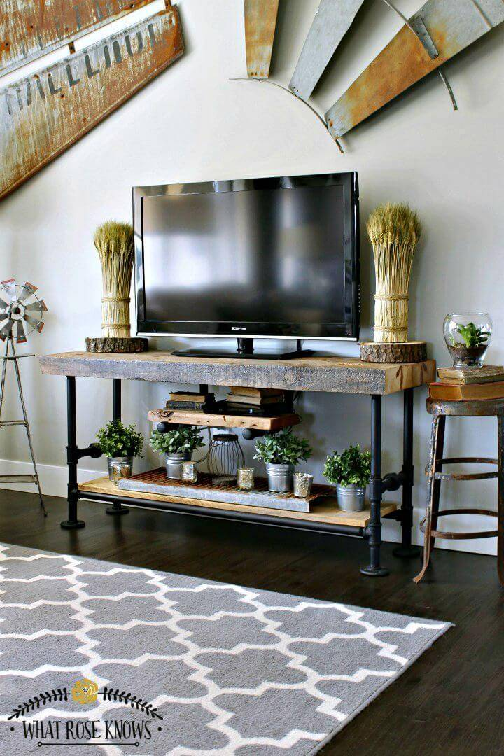 Easy DIY Reclaimed Wood & Black Pipe TV Stand Tutorial