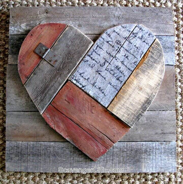 Easy DIY Rustic Pallet Wood Valentines Heart Tutorial