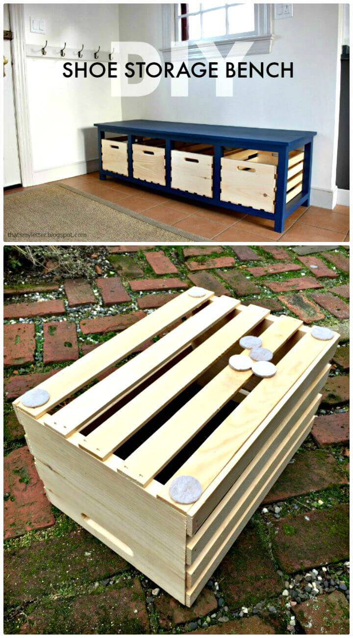 Easy How to DIY Shoe Storage Bench Tutorial