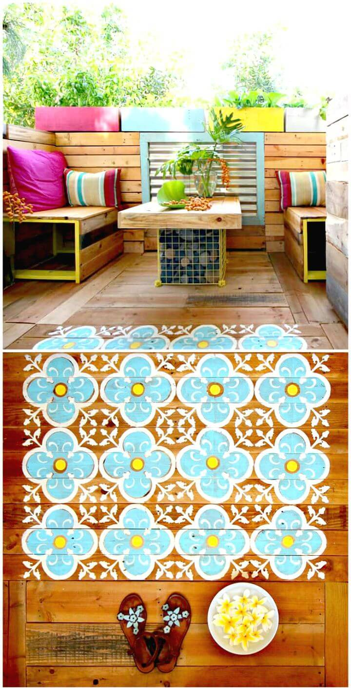 Easy DIY Stenciled Pallet Wood Floor Tutorial