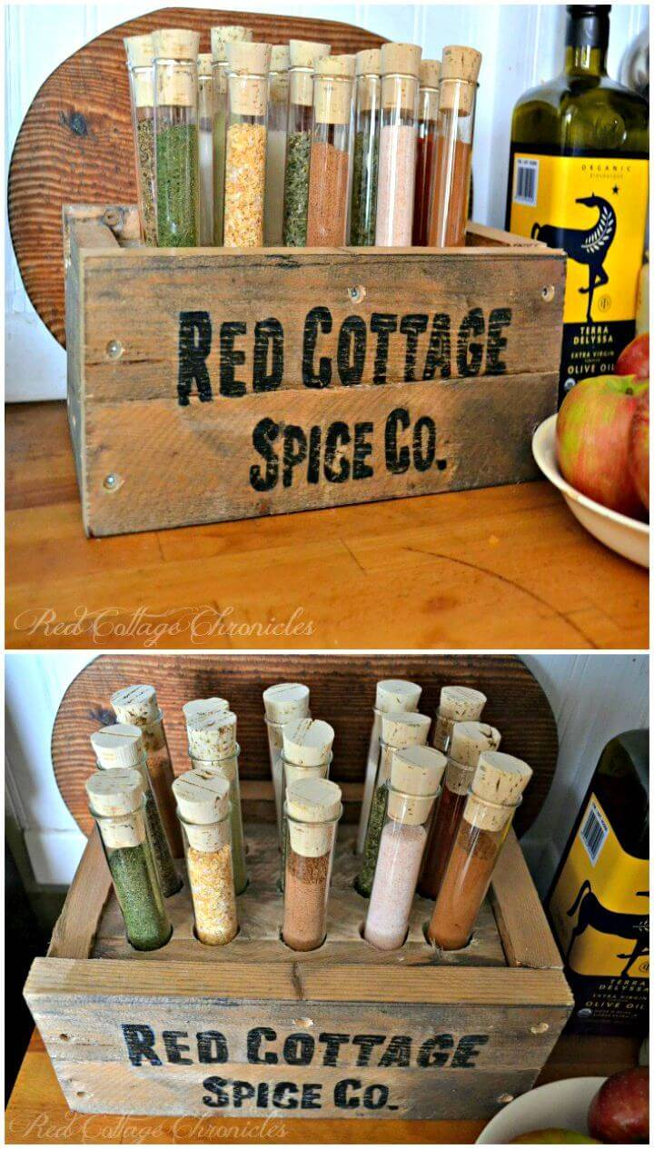 Easy DIY Test Tube Pallet Spice Rack Tutorial