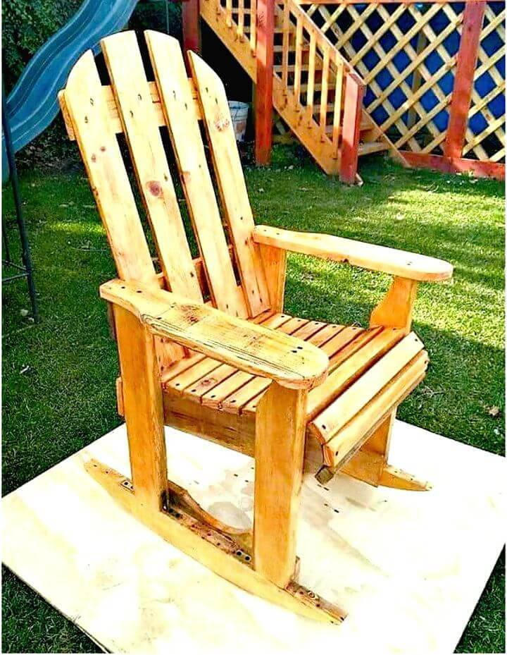 Easy and Simple DIY Wood Pallets Rocking Chair Plan