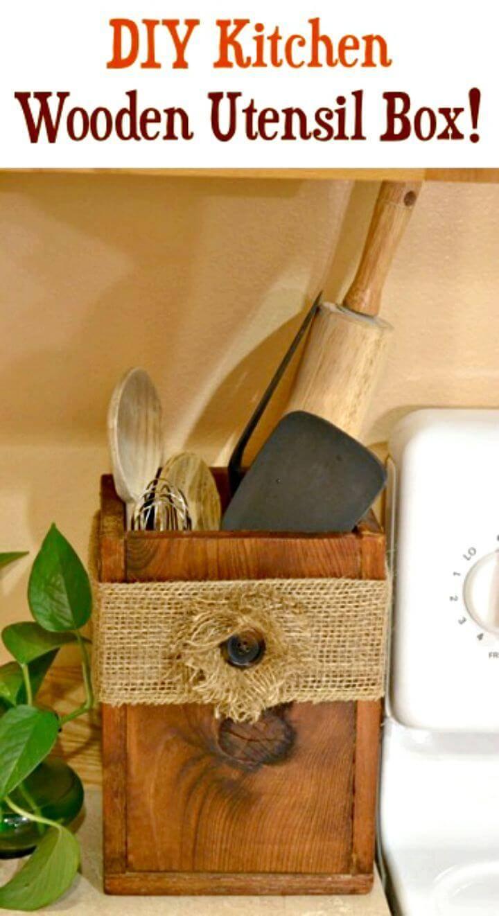 Easy DIY Wooden Utensil Box for Your Kitchen