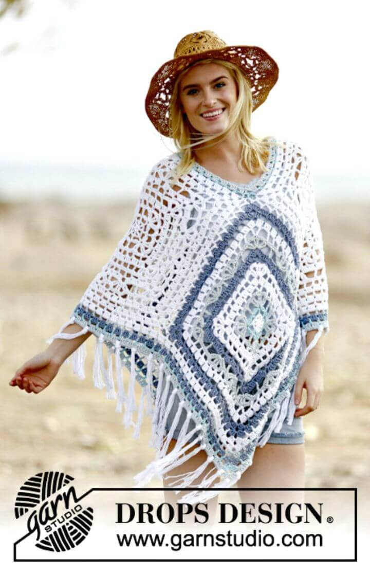 Easy Free Crochet Blues Bohemian Blues Poncho Pattern