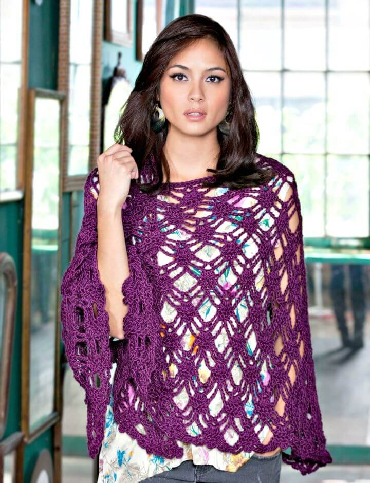Easy How to Free Crochet Bohemian Shawl Pattern