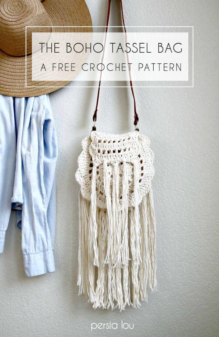 Easy Free Crochet Boho Tassel Bag Pattern