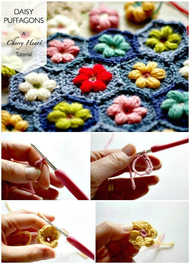 Easy Free Crochet Daisy Puffagon Pattern