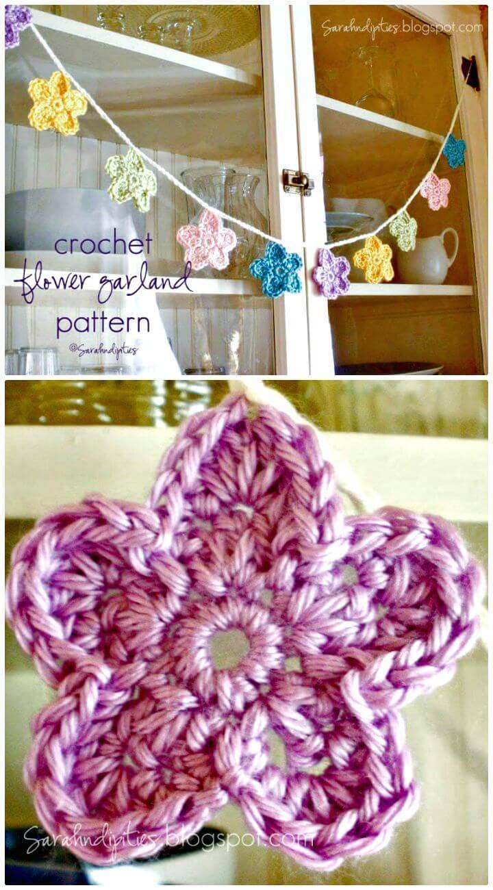 Easy Free Crochet Flower Garland Pattern