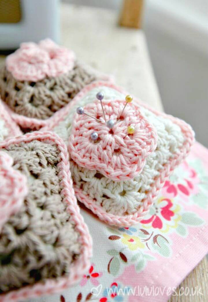 Easy Free Crochet Granny Square Pincushion Pattern