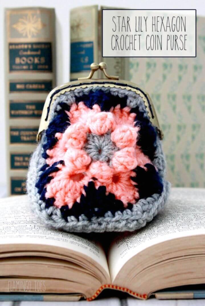 Free Crochet Hexagon Coin Purse Pattern