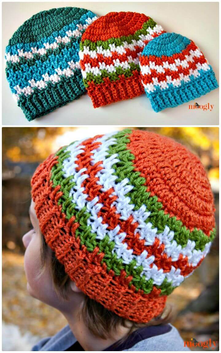 Easy Free Crochet Leaping Stripes and Blocks Beanies For All Sizes Pattern
