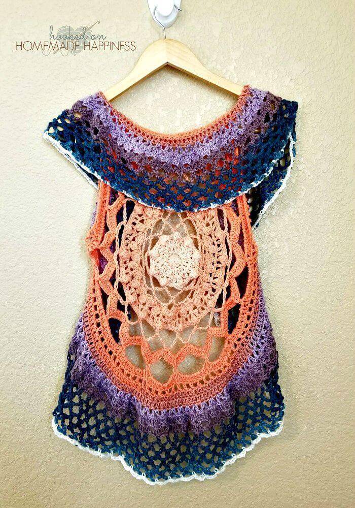 Easy Free Crochet Mandala Vest Pattern