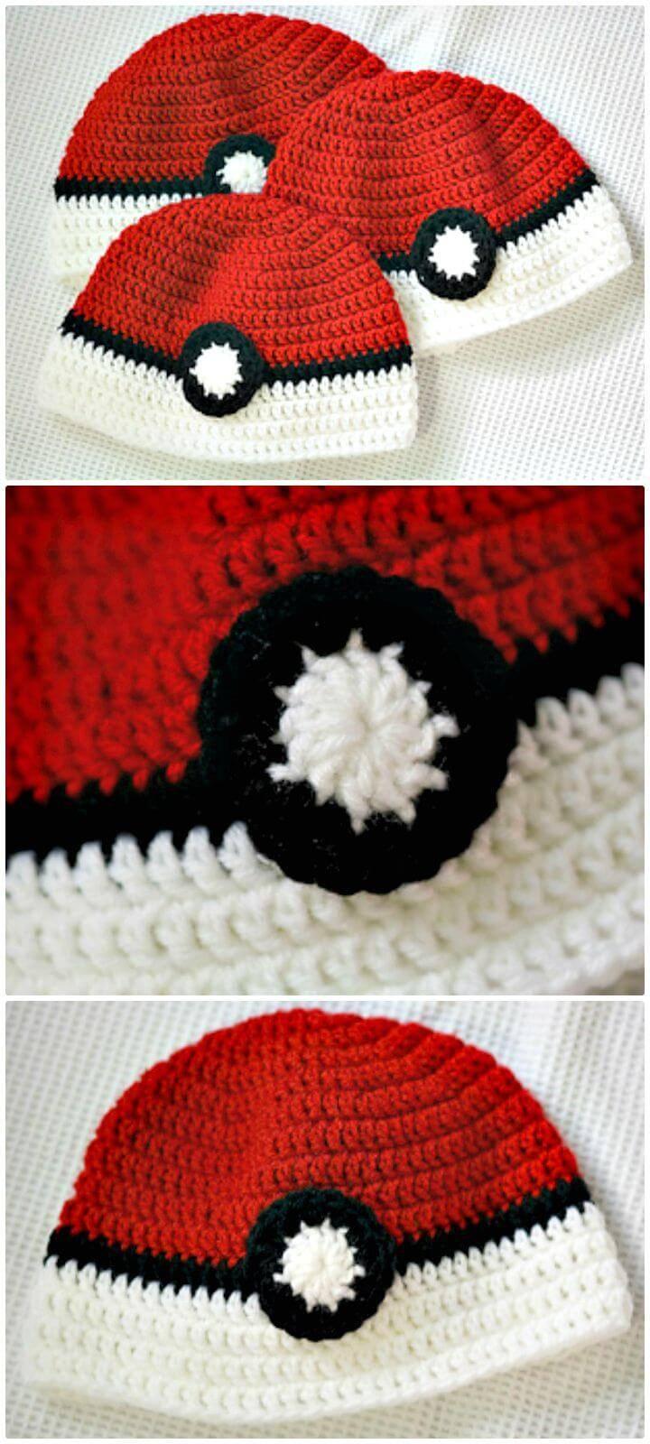 Easy How To Free Crochet Poke'ball Hat Pattern