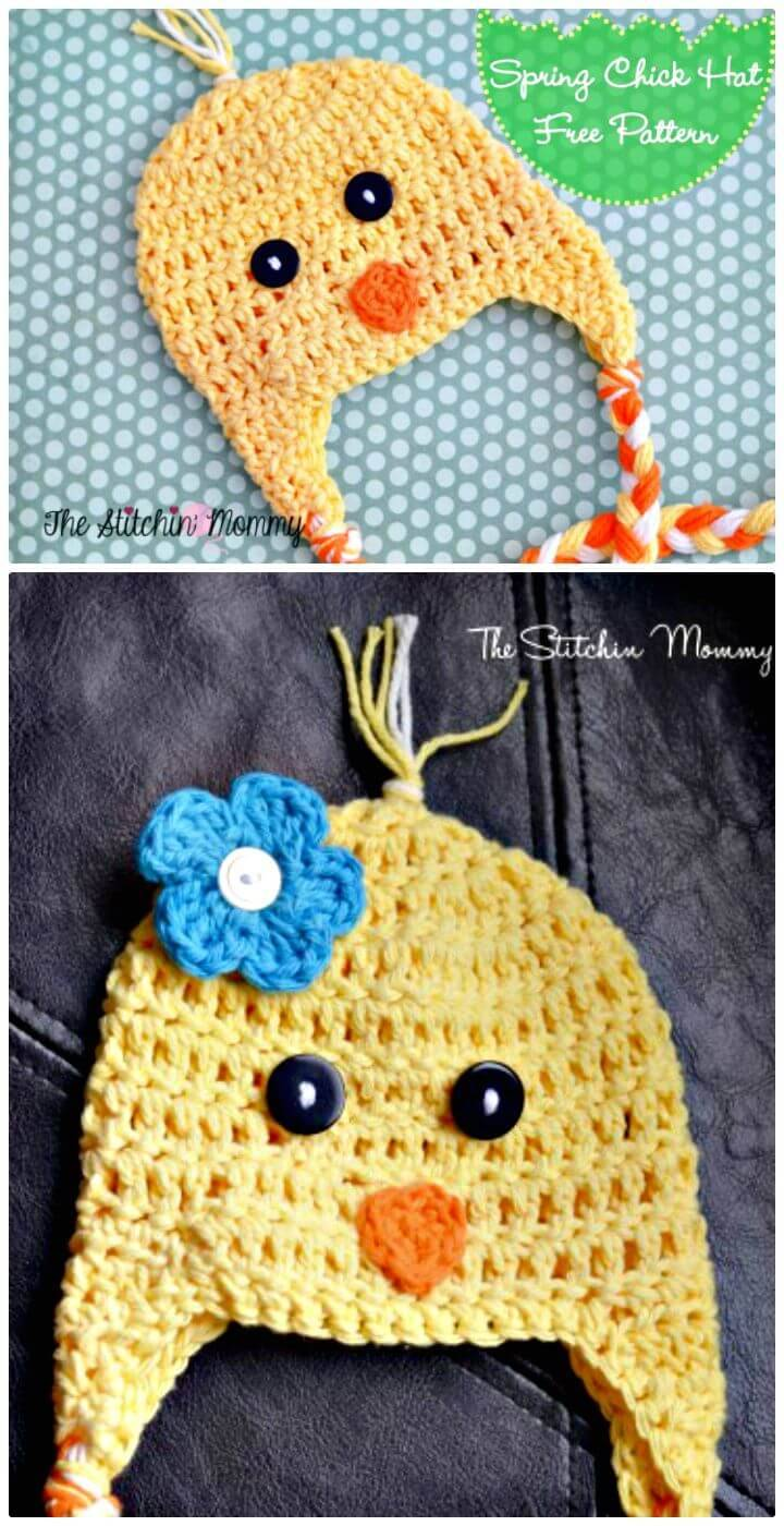 Easy Free Crochet Spring Chick Hat Pattern