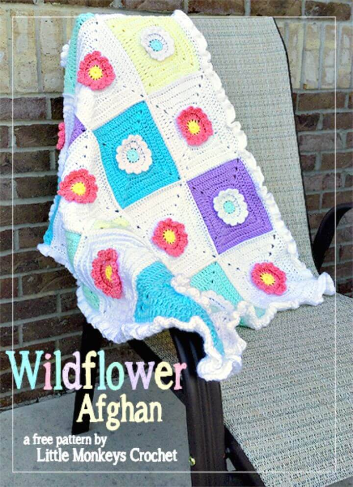 Easy Free Crochet Spring Wildflower Afghan Pattern
