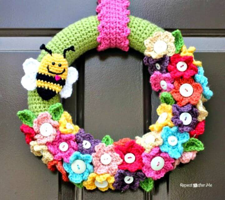 Easy Free Crochet Spring Wreath Pattern