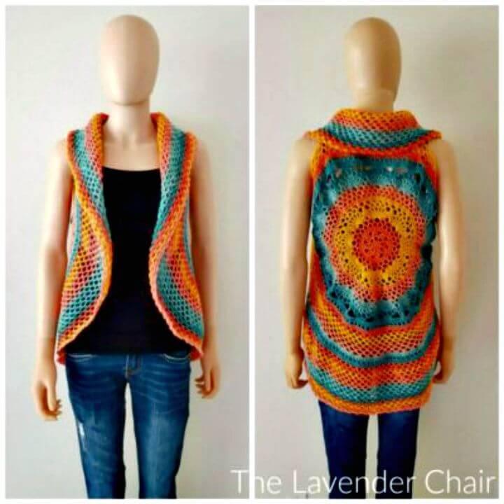 Easy How to Free Crochet Sunset Mandala Circular Vest Pattern
